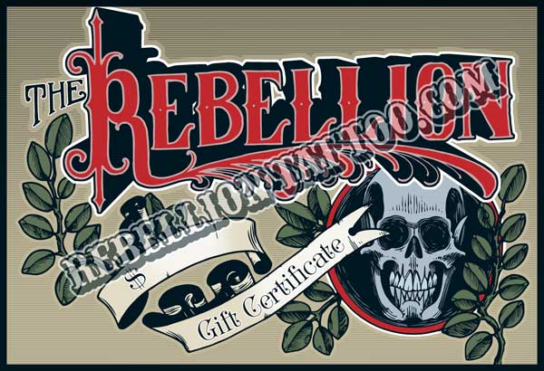 Rebellion Tattoo Christmas Gift Certificate